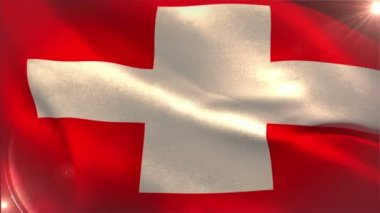 Swiss national flag waving — Stock Video
