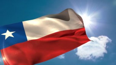 Chile national flag blowing — Stock Video