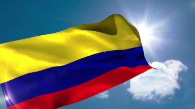 Colombia national flag blowing — Stock Video