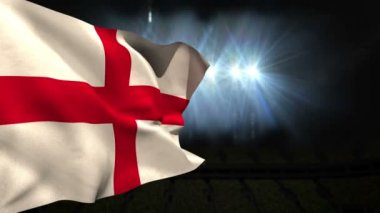 Large england national flag waving — Stock Video