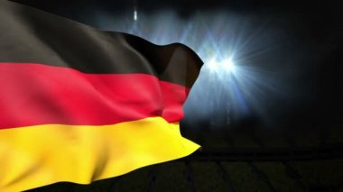 Large german national flag waving — Stock Video