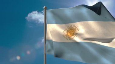 Argentina national flag waving — Stock Video