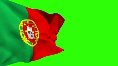 Large portugal national flag blowing — Stock Video