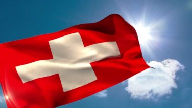 Swiss national flag blowing — Stock Video