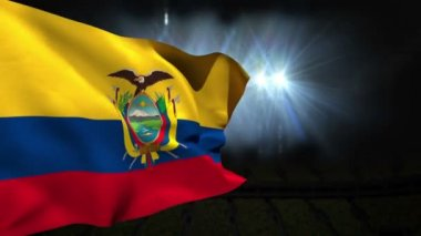 Large ecuador national flag waving — Vídeo Stock