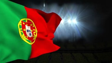 Large portugal national flag waving — Vídeo de stock