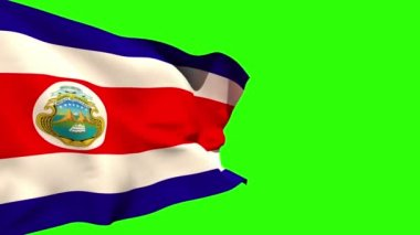 Large costa rica national flag blowing — Stock Video
