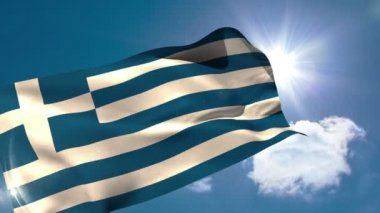 Greek national flag blowing — Stock Video