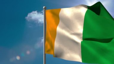 Ivory coast national flag waving — Stock Video
