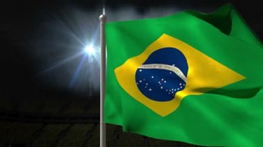 Brazil national flag waving — Stock Video
