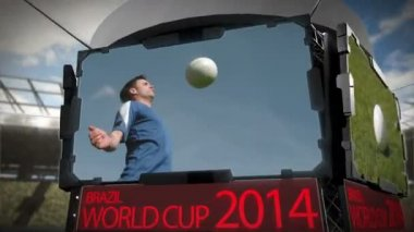 World cup 2014 animation in stadium — Stock video