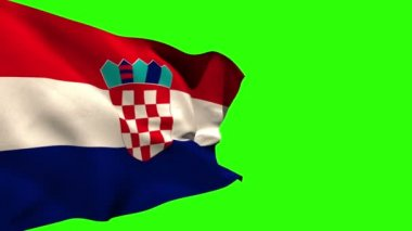 Large croatia national flag blowing — Vídeo de stock