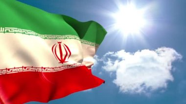 Iran national flag waving — Stock Video