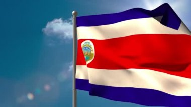 Costa rica national flag waving — Stock Video