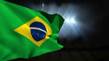 Large brazil national flag waving — Stock Video