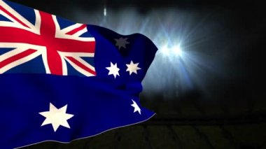 Large australia national flag waving — Stock Video