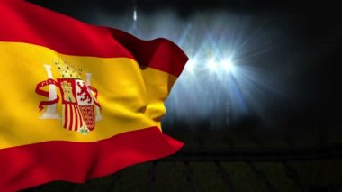 Large spain national flag waving — Stock Video