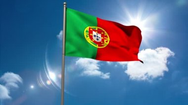Portugal national flag waving on flagpole — Vídeo de stock