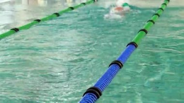 Fit swimmer doing the front stroke in the swimming pool — Vídeo de stock