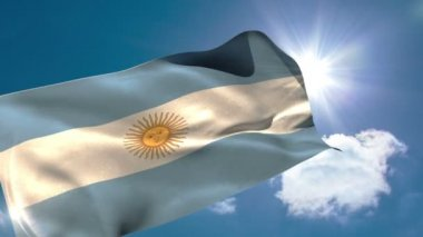Argentina national flag blowing — Stock Video