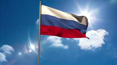 Russia national flag waving on flagpole — Vídeo de stock