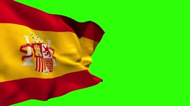 Large spain national flag blowing — Stock Video