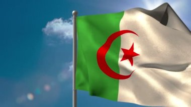 Algeria national flag waving on flagpole — Stock Video