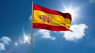 Spain republic national flag waving on flagpole — Stock Video
