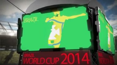 World cup 2014 animation in stadium — Стоковое видео