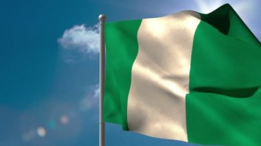Nigeria national flag waving — Stock Video