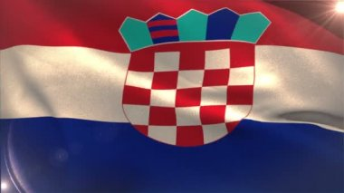 Large croatia national flag waving — Vídeo de stock
