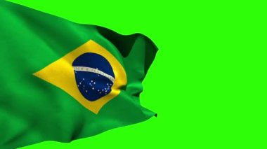 Large brazil national flag blowing — Stock Video