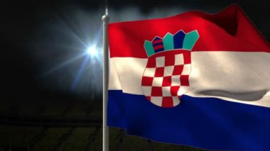 Croatia national flag waving on flagpole — Vídeo de stock