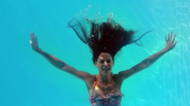 Brunette swimming underwater in the pool — Stock Video