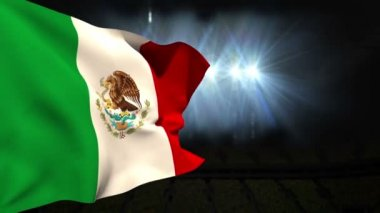 Large mexico national flag waving — Video Stock