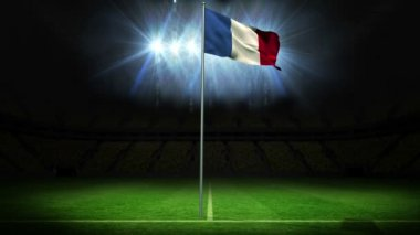France national flag waving on flagpole — Stock Video