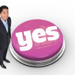 Word yes and smiling asian businessman — Stock Photo #49986689