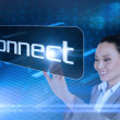 Businesswoman pointing to word connect — Stock Photo #49988725
