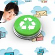 Serious businesswoman against recycling symbol — Stock Photo #49988779