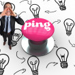 Ping against pink push button — Stock Photo #49989135