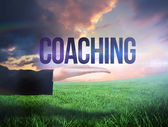 Businesswomans hand presenting the word coaching — Photo