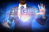 Businessman presenting the word attack — Foto de Stock