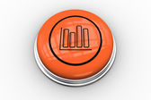 Bar chart graphic on orange button — 图库照片