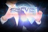 Businesswoman presenting the word server — Stock Photo