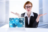 Businesswoman holding hand out in presentation — Stock Photo