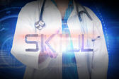 Doctor presenting the word skill — Foto de Stock