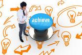 Achieve against blue push button — Stock Photo