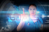 Doctor pointing to the word goals — Foto Stock