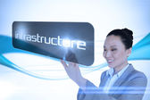Businesswoman pointing to word infrastructure — Foto Stock