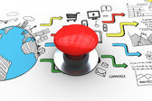 Red push button against brainstorm graphic — Foto Stock